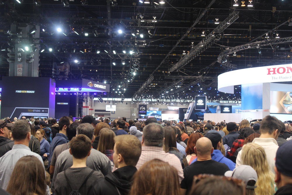 Crowds gather at the Chicago Auto Show