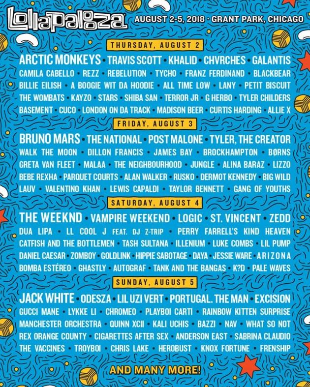 Lollapalooza 2018 Lineup