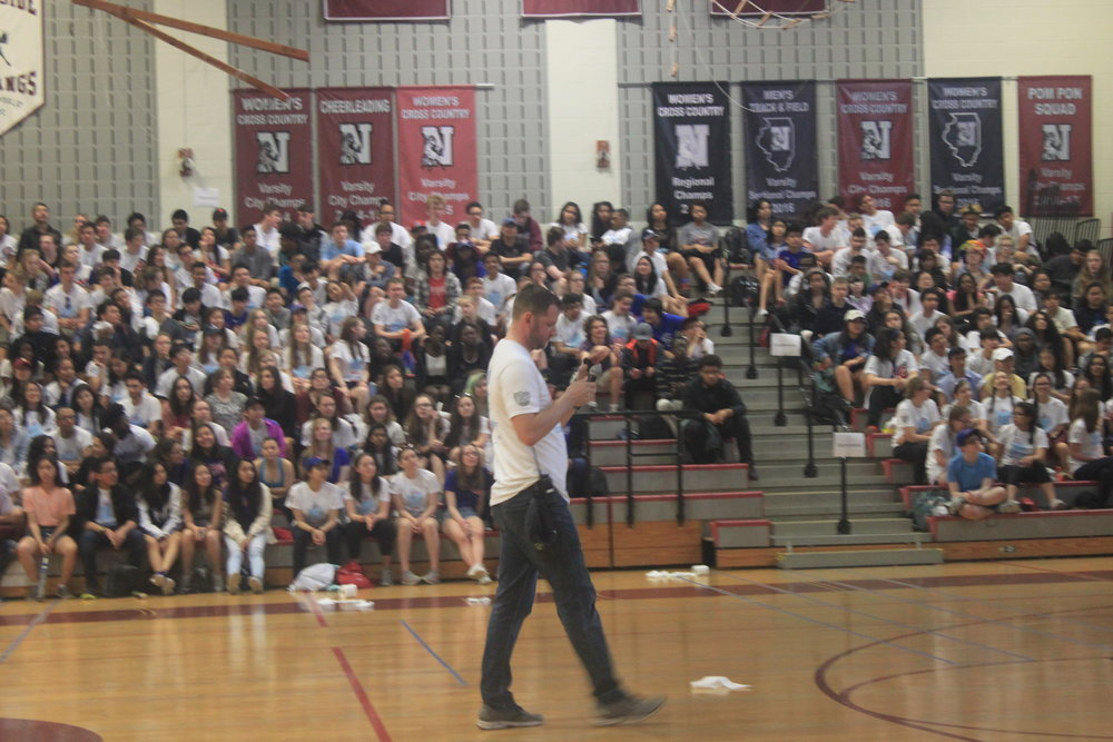 Vice Principal Mr. Smith announces the winners of the Cubby Walk Raffle.