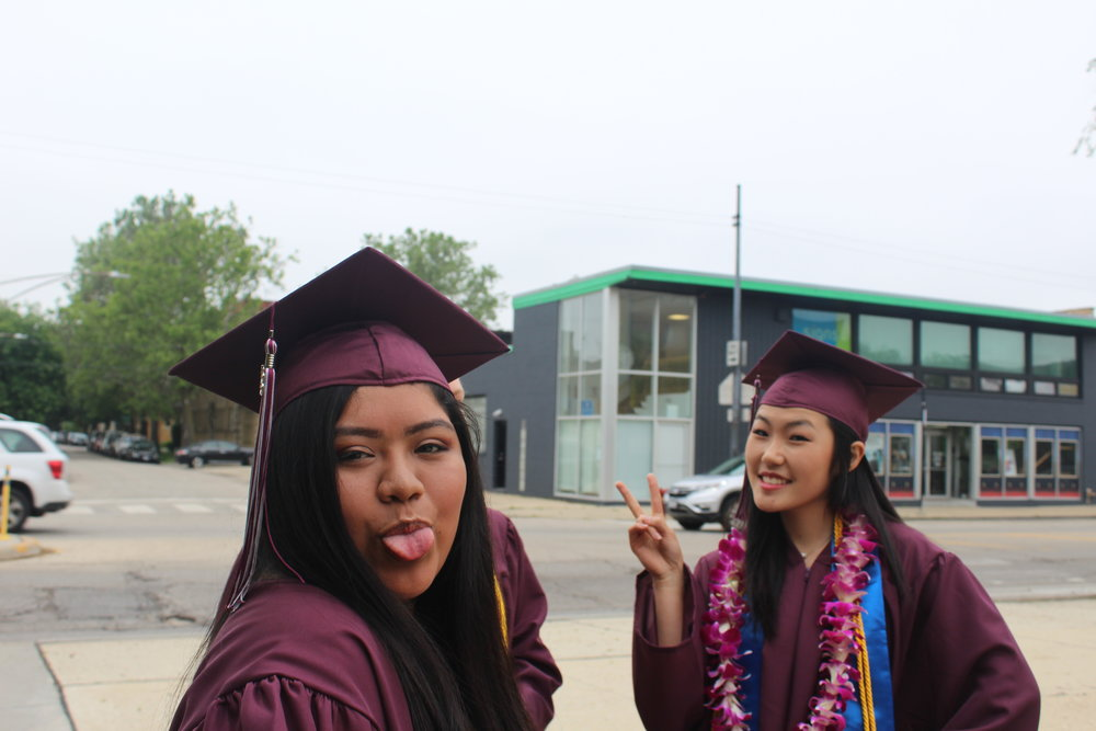Still kids at heart, Yesenia Cardona, Adv. 806, and Abigail Kim, Adv. 807, make funny faces at the camera
