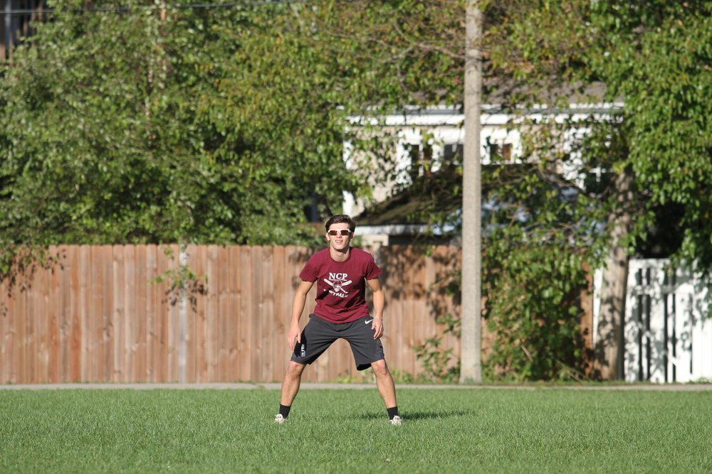 Jack Vasilopoulos, Adv. 006, stood to attention ready to make an amazing catch in outfield.