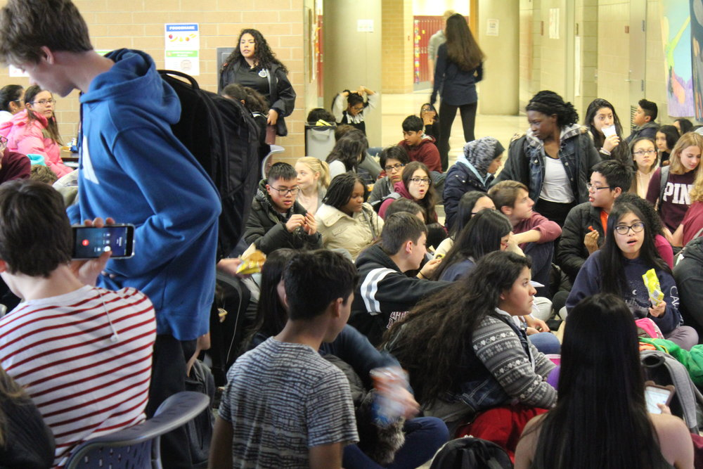 Freshman crowding yet another hallway, excited by the Fall Fest