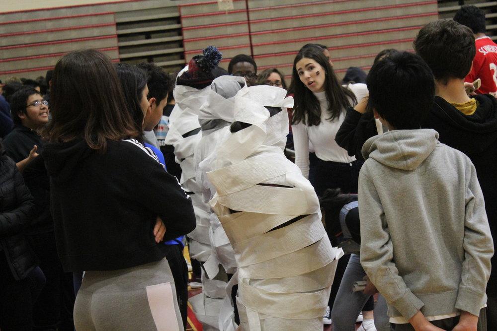 Hannah Shipley, Adv. 911 motivates Advisory 207 before the Toilet Paper Mummy race