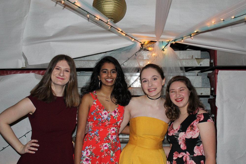 Miranda Stillwell (Adv. 009), Megana Manne (Adv. 007), Tessa Martinez (Adv. 003), and Rachel Dunn (Adv. 002) smile at the camera