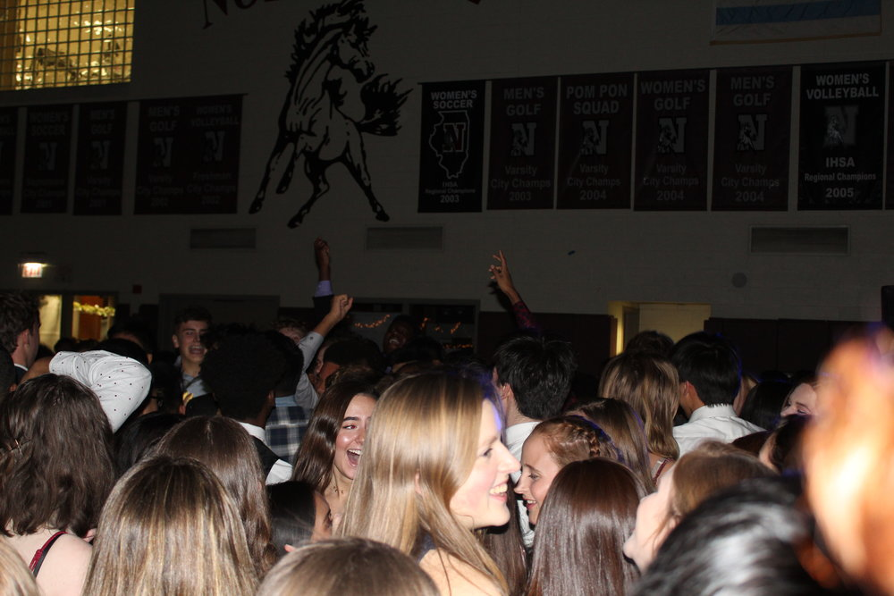 Students jump to the music