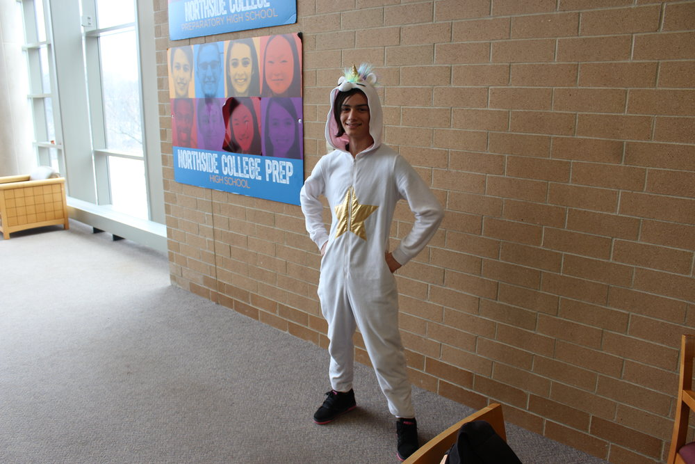 Joshua Guinazzo, Adv. 001 shows off his unicorn costume, complete with Heelys