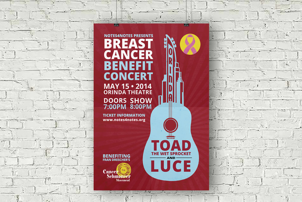 bright, colorful, graphic poster design for nonprofit benefitting breast cancer.