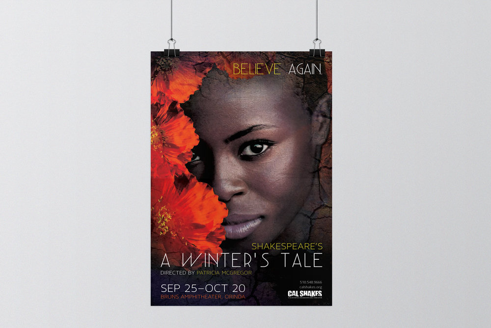 Poster design for a production of Shakespeare's A Winter's Tale. Created and designed in California.