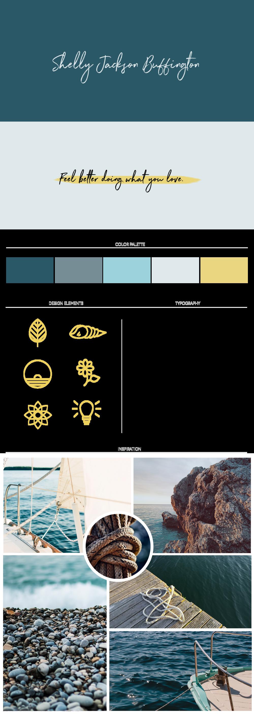 Branding project for Shelly. Salt and sea inspired branding. Beach girl meets adventurer. Branding board by Callie Cullum.