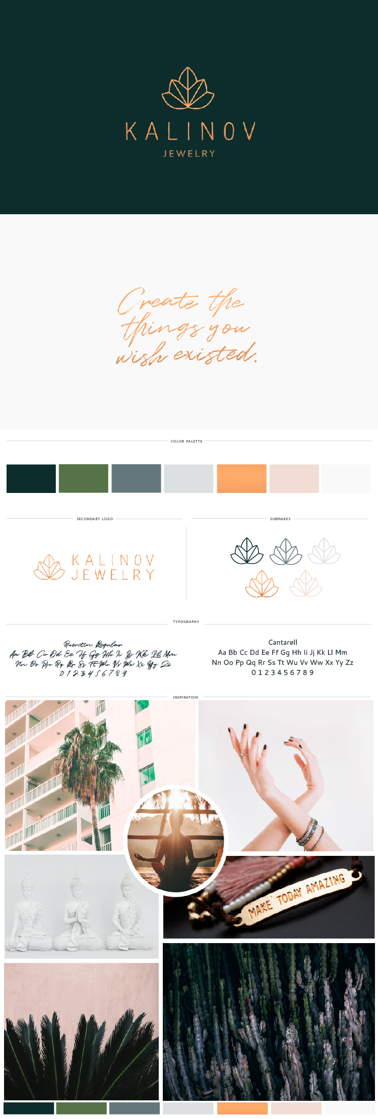 Brand board, moodboard, logo design, colors, fonts, and logo submarks for Kalinov Jewelry, a yoga-inspired jewelry line based in Miami. A maple leaf and lotus are the inspiration behind the logo design. Influenced by the tropical feel of Miami as well as by yoga.
