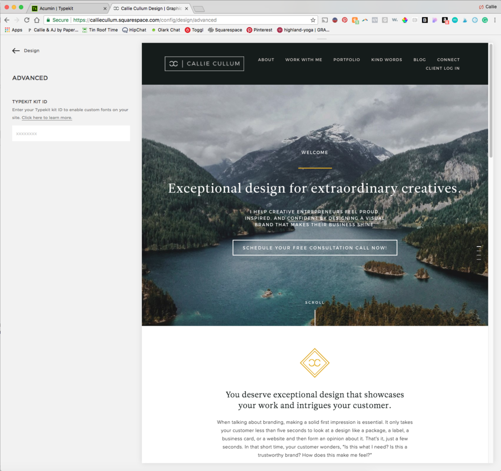 Adding your brand fonts to your Squarespace site, a step by step tutorial with pictures!