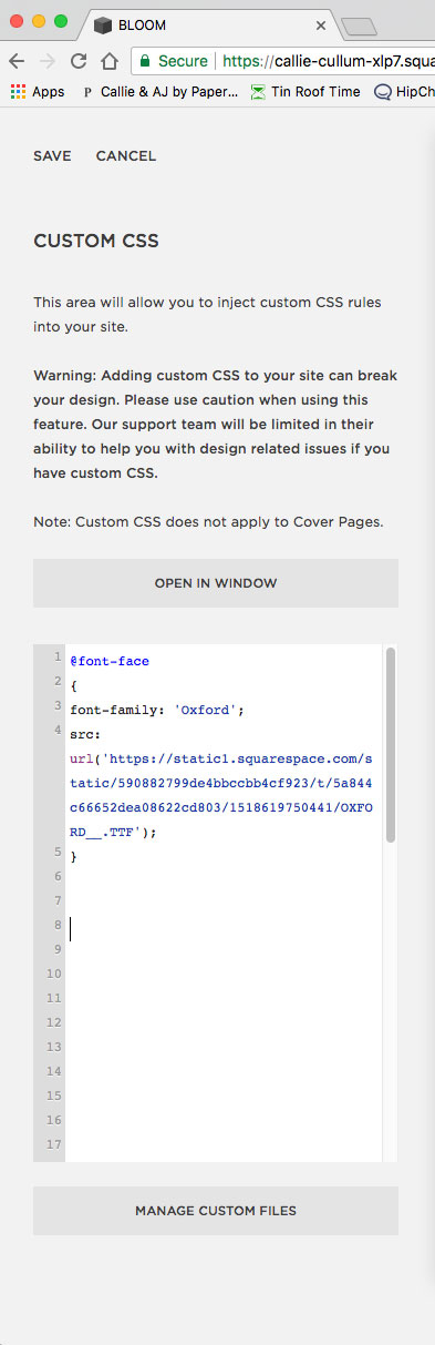 Custom CSS to add a custom font to Squarespace. Learn tricks and tips to DIY your website with your branded fonts.
