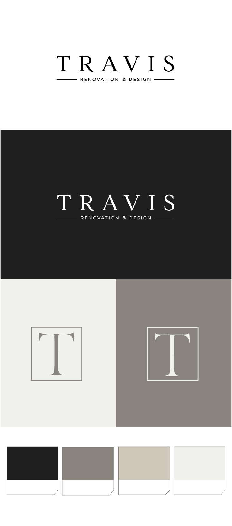 Logo Design and custom color palette for Travis Renovation & Design in Virginia.