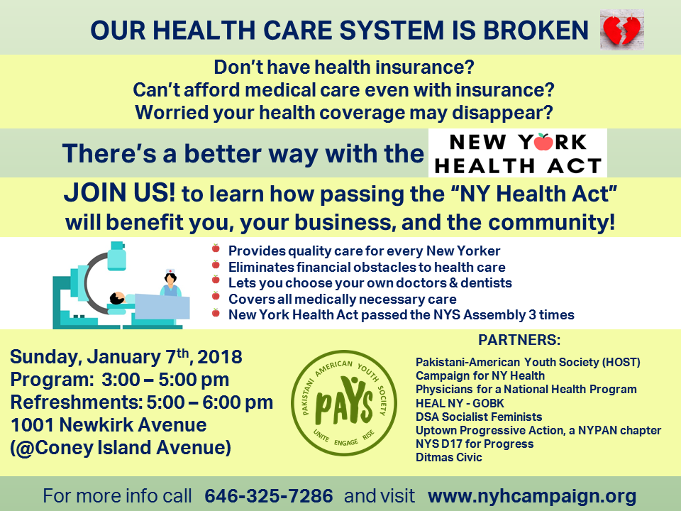 Join us on January 7th, to learn how passing the New York Health Act will benefit you, your business, and the community!    To sign up,  Click Here!