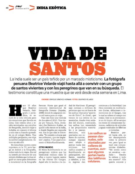 Revista Somos. Exposición SADHUS DIVINA SANTIDAD.