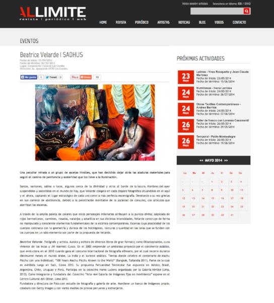 """Revista Al Limite.Exposición """"SADHUS"""" en Santiago de Chile."""