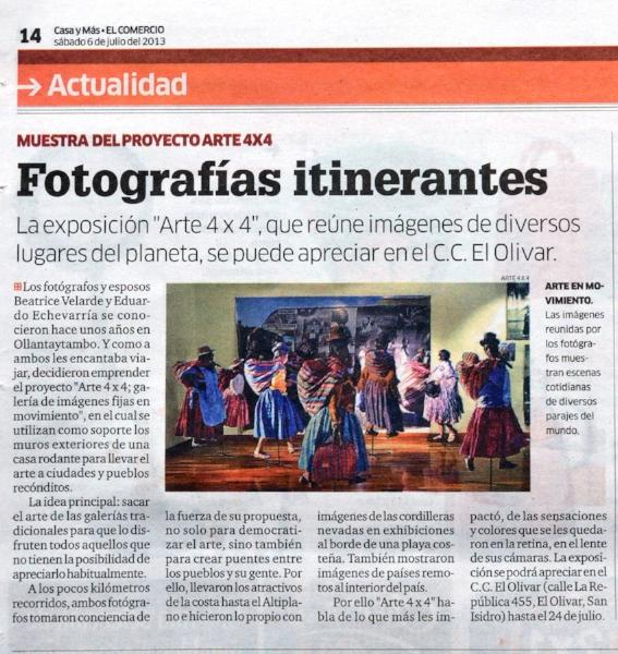 """Diario El Comercio, Suplemento Casas y Mas. Exposición """"ARTE 4X4""""."""