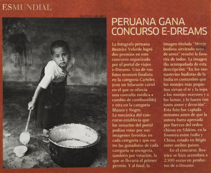 Diario El Comercio. Suplemento El Dominical. Premio del Concurso Internacional de Fotografía eDreams. España.