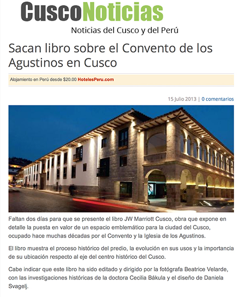 Revista Cusco Noticias. Libro JW MARRIOTT CUSCO.