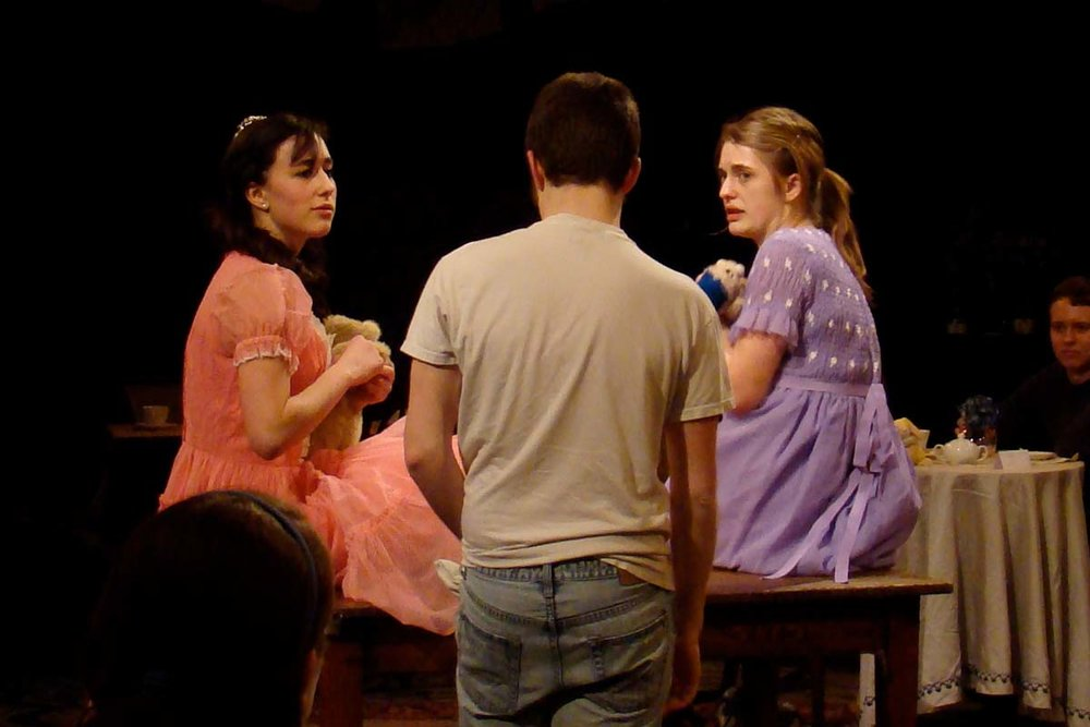 In the first act of Tea Party, actors played small children of different socio-economic classes. Audiences were then asked to propose solutions to the fights that arose when the child of the maid (the boy in the t-shirt above) wanted to play with the toys of the more affluent children. The host of the tea party then challenged audiences to consider whether they, as adults, shared their resources in the ways they recommended to children.