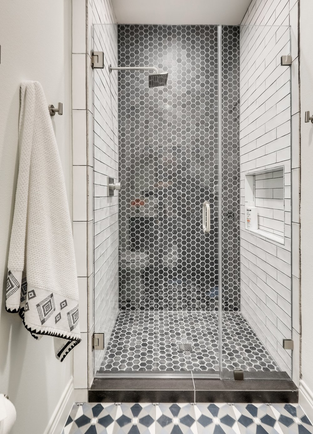 Modern Farmhouse BnB Bathroom - Hex and Subway Tile Shower .jpg