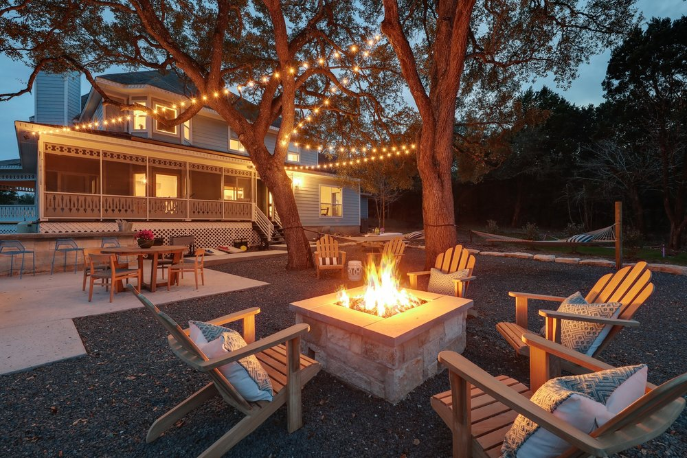 Modern Farmhouse BnB Outdoor - Firepit and Teak Adirondack Chairs.jpg