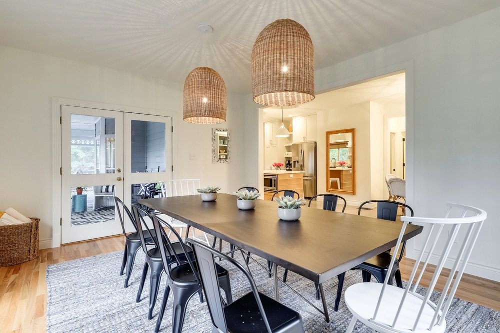 Modern Farmhouse BnB Dining - Serena and Lily Pendants, Black and White Dining Chairs.jpg