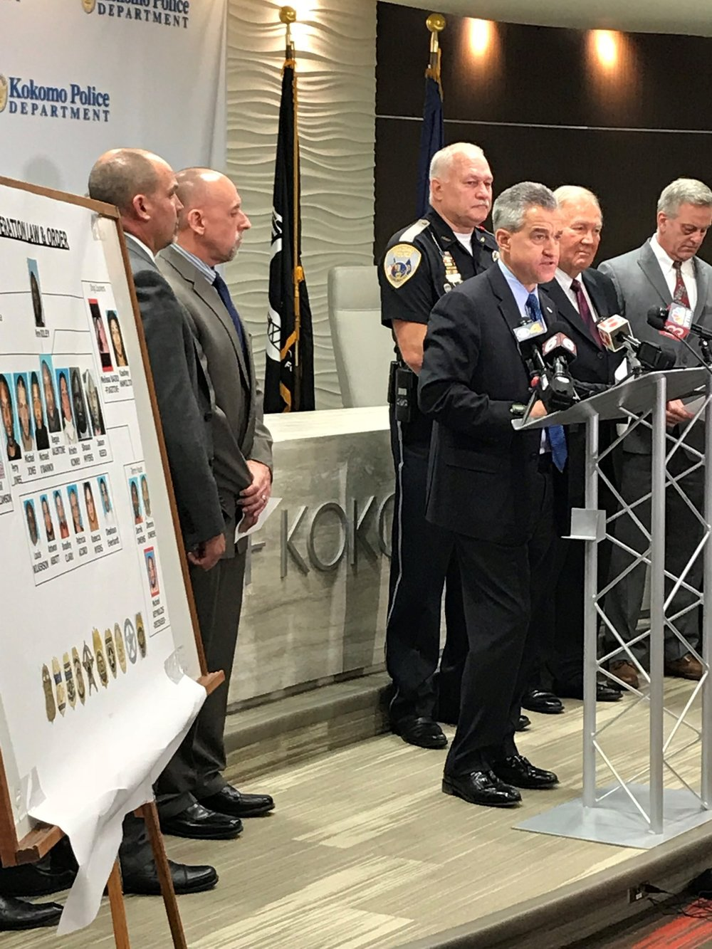 US Attorney Joshua Minkler of the Southern District of Indiana announcing federal charges against a drug trafficking organization accused of bringing large amounts of illegal drugs into Central Indiana. Photo: Southern District of Indiana