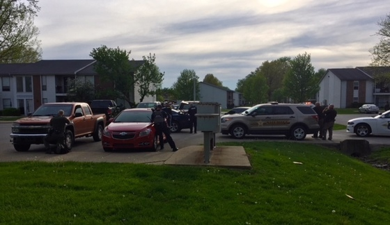 Scene at Garden Quarter Apartments following shooting on Friday evening. Photo: Indiana State Police.