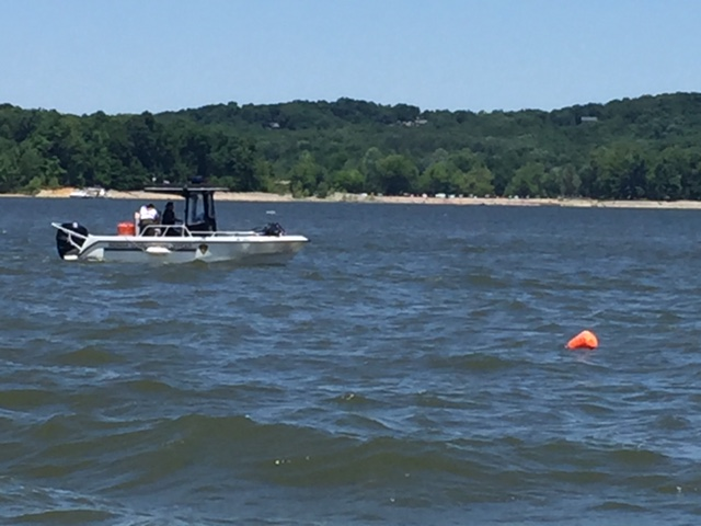 Conservation Officers searching Lake Monroe. Photo Courtesy Indiana DNR.