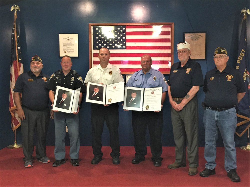 National Public Servant Awards Ceremony at Worthington VFW Post 7117 on Saturday, July 14, 2018: Past Indiana VFW Commander Johnny Capps, Indiana State Police Trooper Randall Van Arsdale, Worthington Fire Chief Kyle Steward, Worthington Captain Terry Koons, Worthington VFW Quartermaster Ken Stalcup and Commander Kermit Wilcox. Photos by Anna Rochelle.