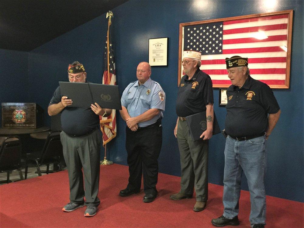 Terry Koons receiving VFW National Public Servant Award.