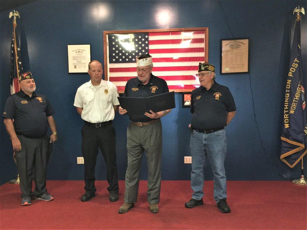 Kyle Steward receiving VFW National Public Servant Award.