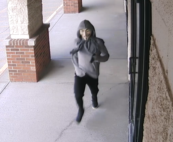 Photos of masked gunman involved in the armed robbery last weekend of the Dollar General Store in Riley. Photos provided by Indiana State Police.