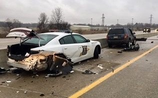 Crash involving ISP patrol vehicle. Photo provided by Indiana State Police.