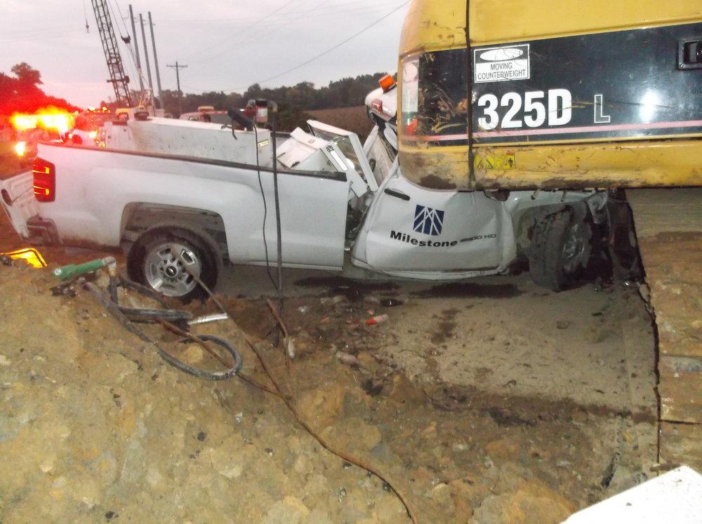 Scene of fatal crash on State Road 58 Thursday morning, October 4. Photo courtesy of Deputy James Carpenter, Greene County Sheriff's Department.