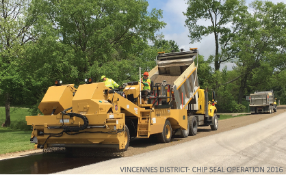 Chip and Seal Operating in 2016 by crews from the Southwest/Vincennes District of the Indiana Department of Transportation. Photo courtesy of INDOT.