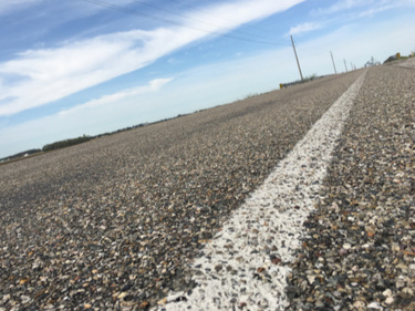 Chip and Seal road in Indiana Department of Transportation's Southwest/Vincennes District. Photo courtesy of INDOT.