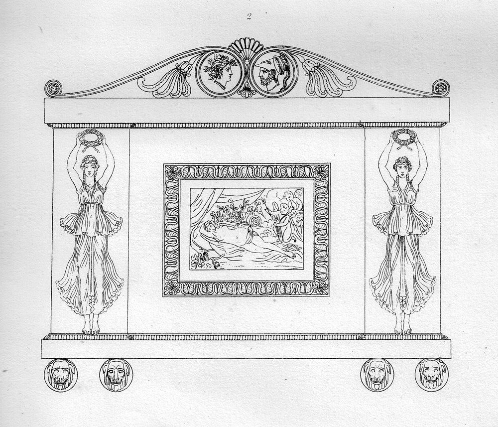 - This design is probably a server. However, the profile of the pediment likely influenced the maker's choice for the profile of the secretary bookcase pediment. Image from Household Furniture and Interior Decoration by Thomas Hope. Reprint by John Tiranti, LTD, London, 1937 and 1946.