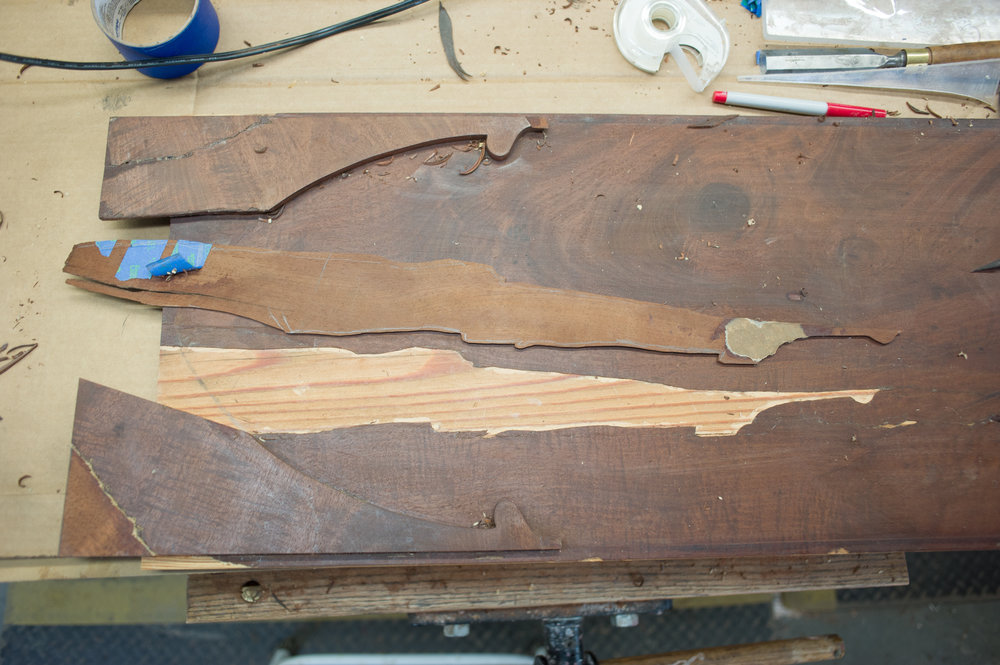Mahogany restoration in door panel.