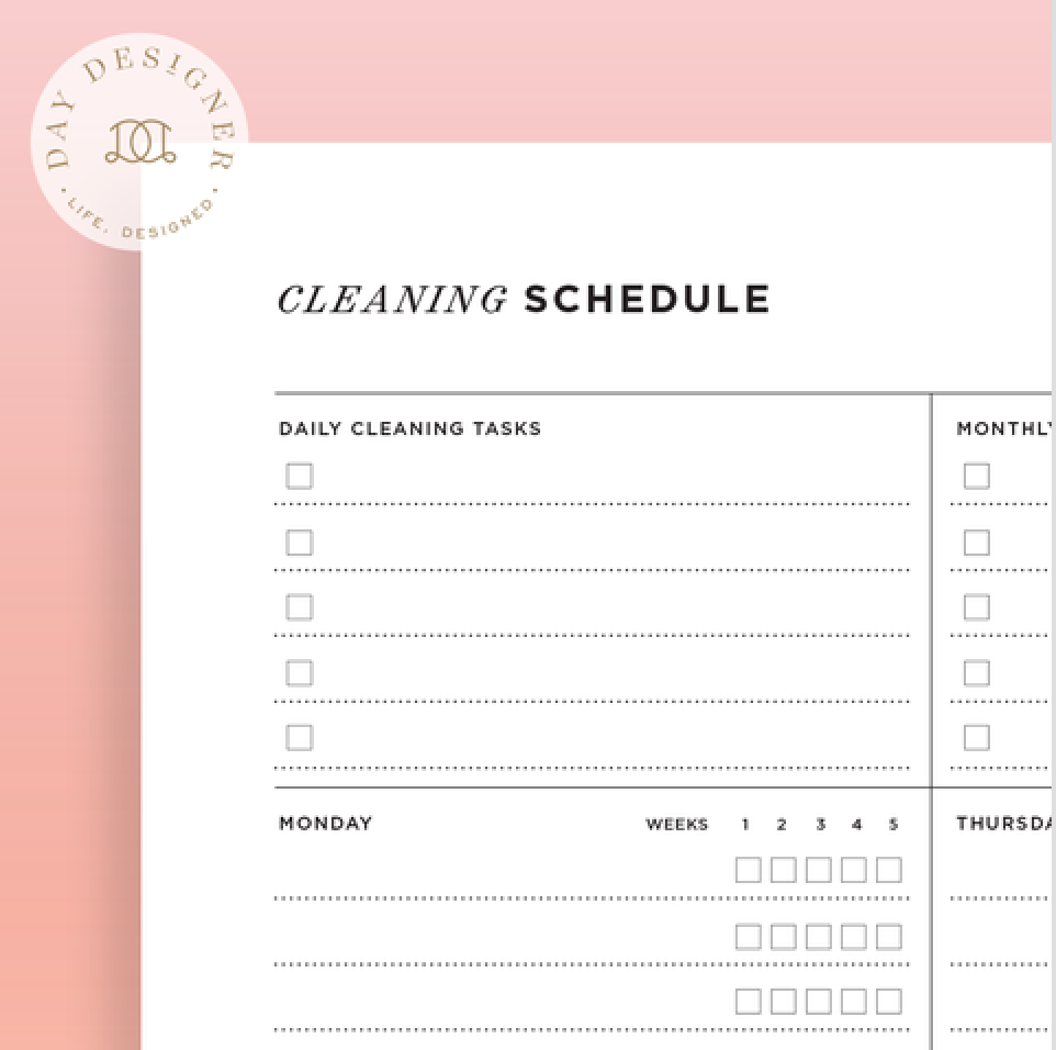 Day Designer Cleaning Calendar