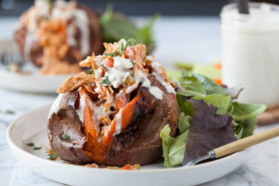 Against All Grain Buffalo Chicken Stuffed Sweet Potatoes with Creamy Dressing