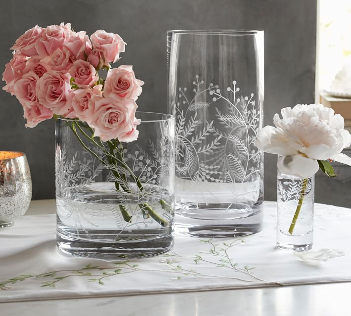 Pottery Barn |Monique Lhuillier Floral Etched Glass Vases