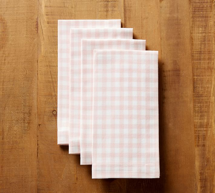 Pottery Barn | Gingham Napkin, Set of 4 - Pink