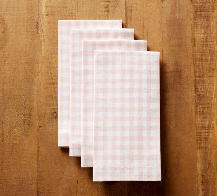 Pottery Barn | Gingham Napkin, Set of 4 - Pink