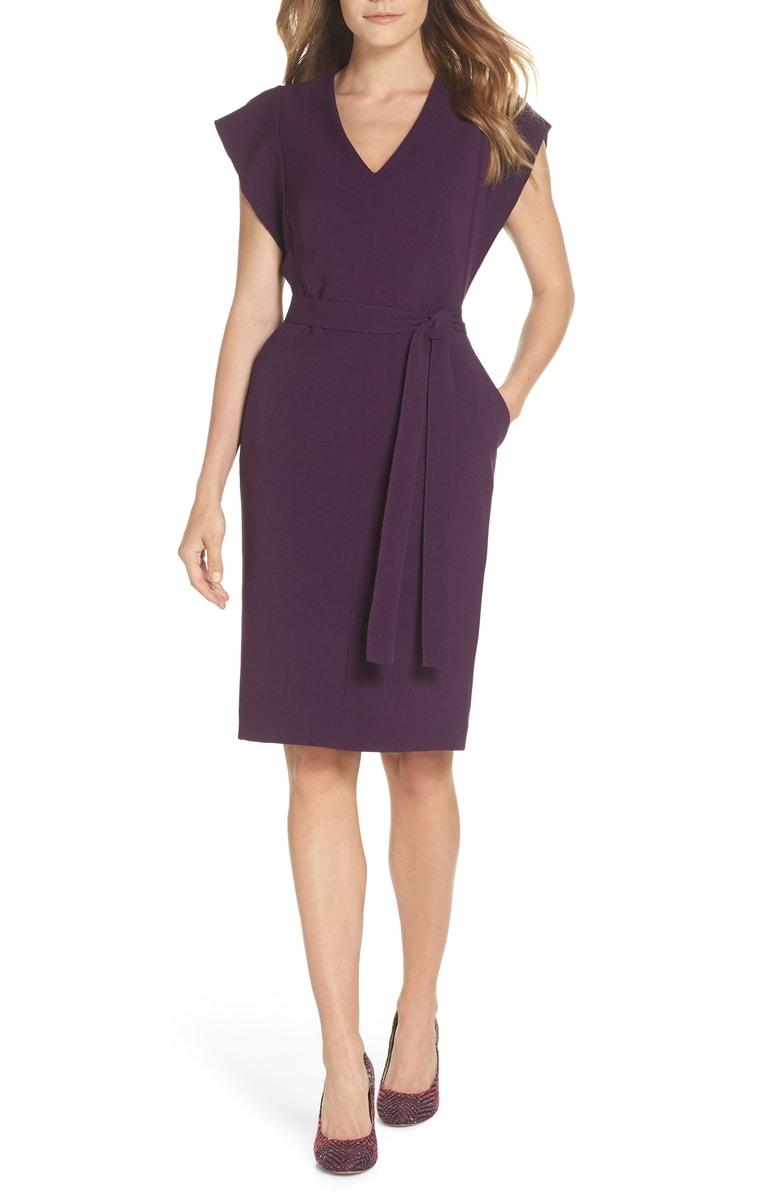Eliza J Ruffle Sleeve Sheath Dress.jpg