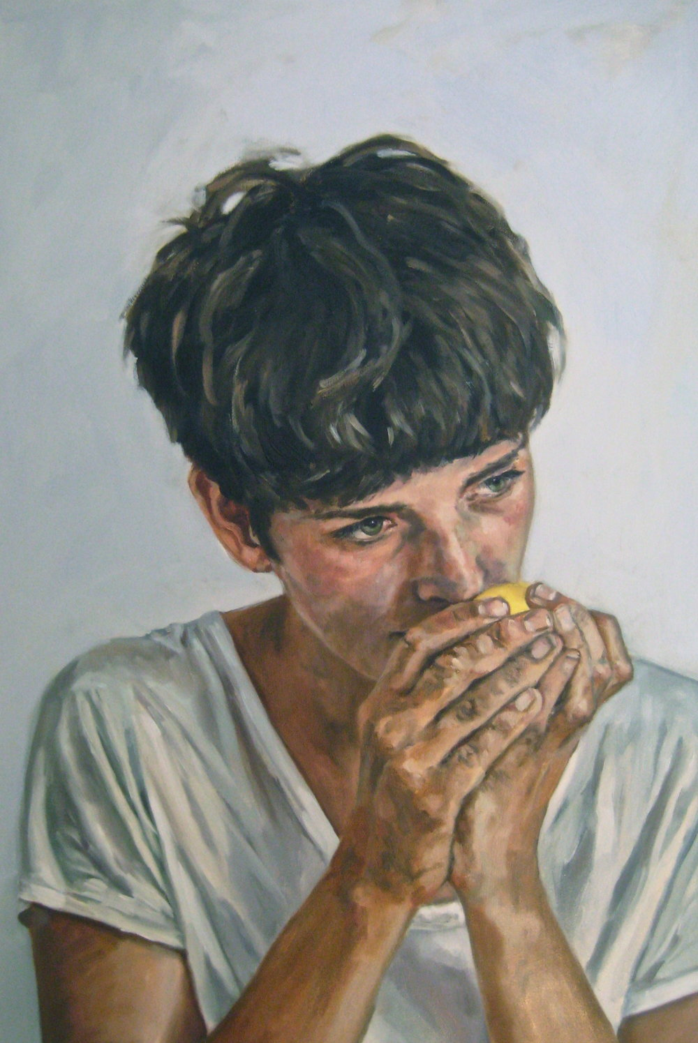 "Untitled (Erin with Lemon)   Oil on panel 24"" x 36"" 2015"