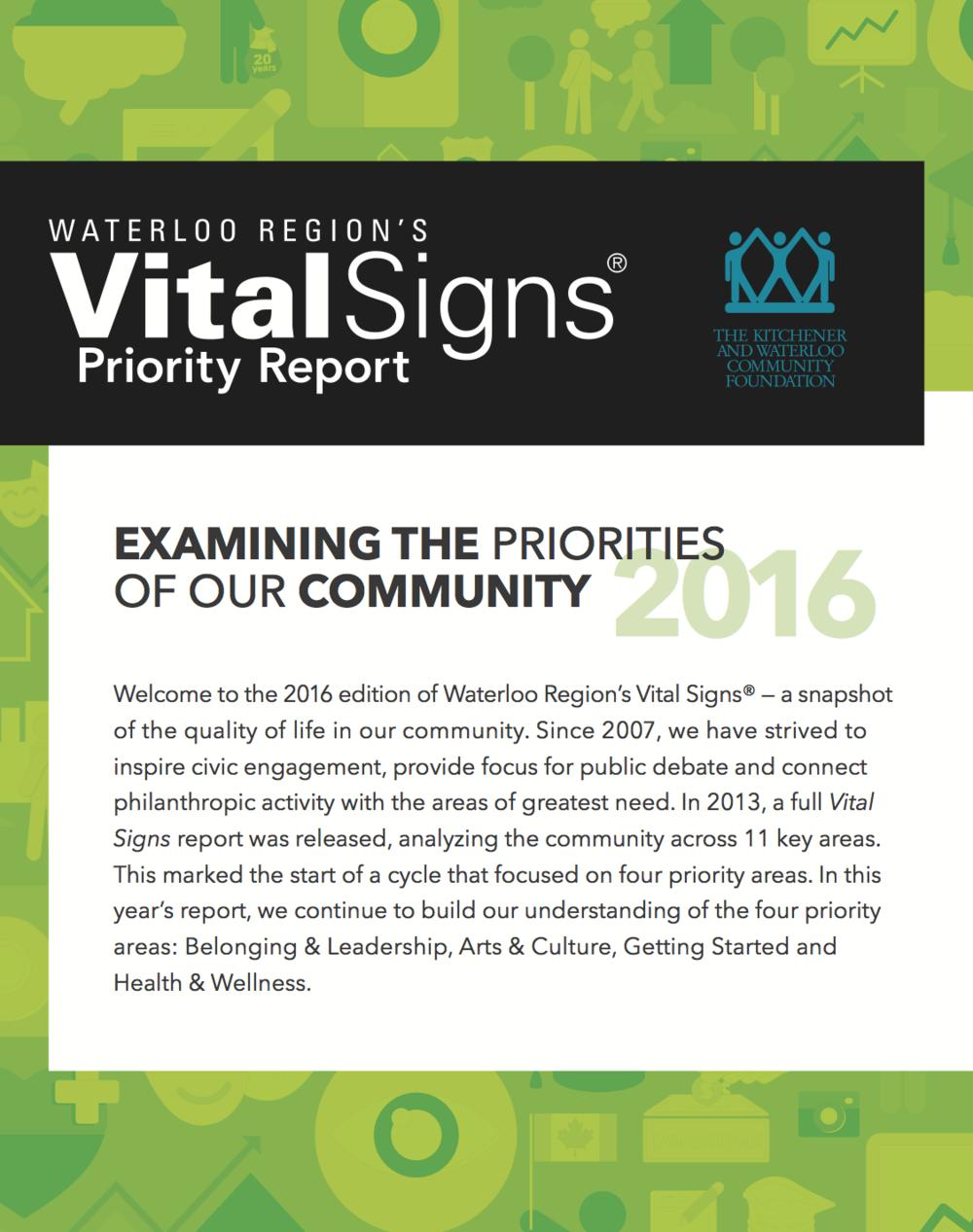 Vital Signs — Kitchener Waterloo Community Foundation