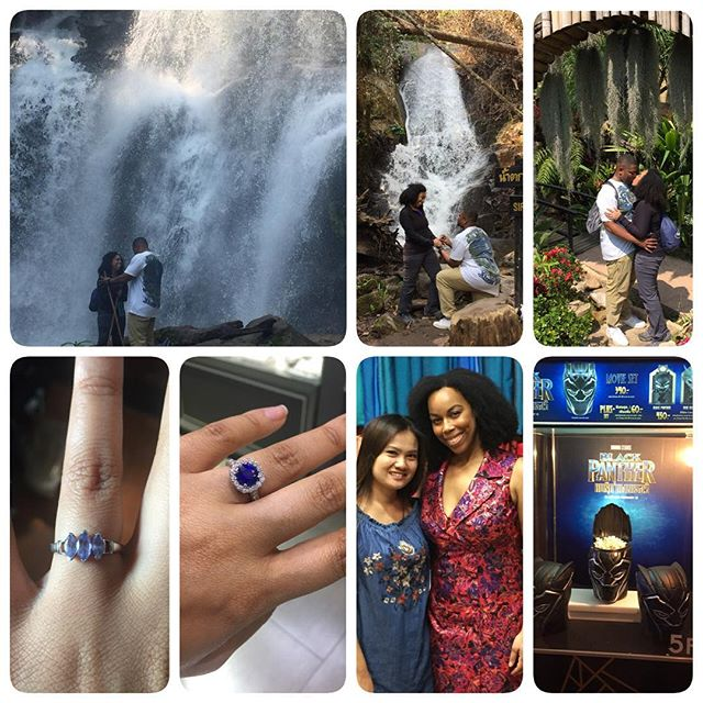 Back from Thailand and still over the moon 🌜Thank you @OrionMagnus!! 😍😘💍 ❤️ 1. The proposal at the back drop of a beautiful waterfall on a mountain. He recited the most thoughtful tear jerking poem about the last 8 years of our lives together. 2. The tour guide was from the jungle so he kinda missed some key photographic moments of the proposal so we did a redo at another waterfall. 😝  3. Bruce knew a proposal would be incomplete without a ring in that box so he got me a really nice place holder until... 4. I got home to see my custom made blue sapphire gem stone engagement ring. Why Sapphire? It's royal, a symbol of love, unique, our favorite color and the color of our Alma Mater. #DukeDuke 5. Pre-proposal he surprised me with a custom made silk dress from silk, hand made by the designer in the photo.  6. After the proposal and our last night in Bangkok, I was surprised with tickets to see #BlackPanther at a luxurious movie theatre. Tickets came with a queen size sofa bed, a butler, welcome reception and more! 😮 What was meant to be his birthday trip ended up being full of surprises for me! A trip of a lifetime!  #blacklove #dukelove #engaged #loveofmylife #overthemoon #Thailand #WakandaForever #toGodbetheGlory