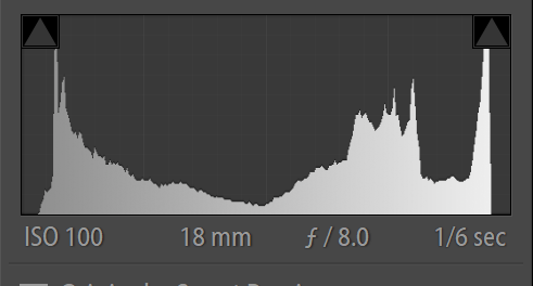 Histogram exposed to the right to achieve my desired affect